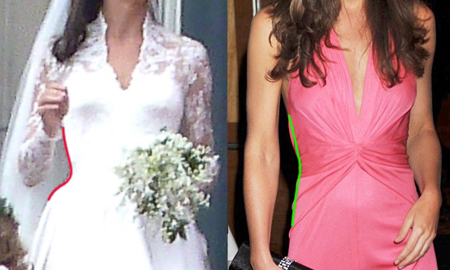 Comparison of Kate Middleton's waistline in her wedding dress and without her wedding dress. Her wedding dress is clearly corseted to a certain degree.