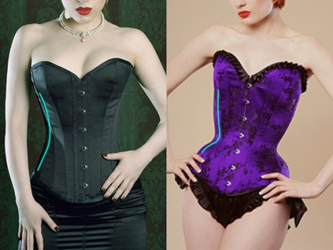 Two types of corsets. The purple one is a tightlacing corset with a much more pronounced curve.